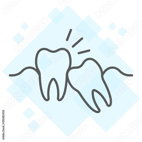 Fotografía  Wisdom teeth thin line icon, stomatology and dental, impacted tooth sign vector graphics, a linear pattern on a white background, eps 10