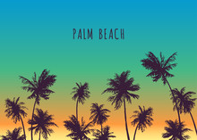 Palm Beach. Vector Hand Drawn Background For Tropical Design. Sketch Illustration With Trees On Sunset