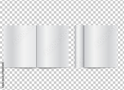 Photo  Realistic blank open magazine with rolled white paper pages on transparent background