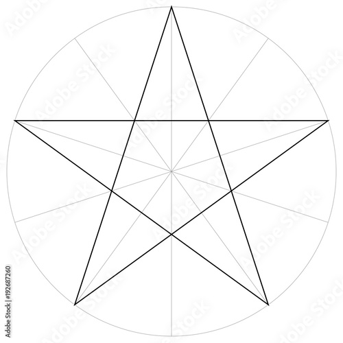 Correct Form Shape Template Geometric Of The Pentagram Five Pointed Star Vector Drawing
