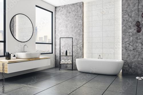 Fotografía Modern bathroom with blank poster
