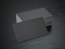 Stack Of Black Blank Business Cards Mockup On Black Wood Table Background,