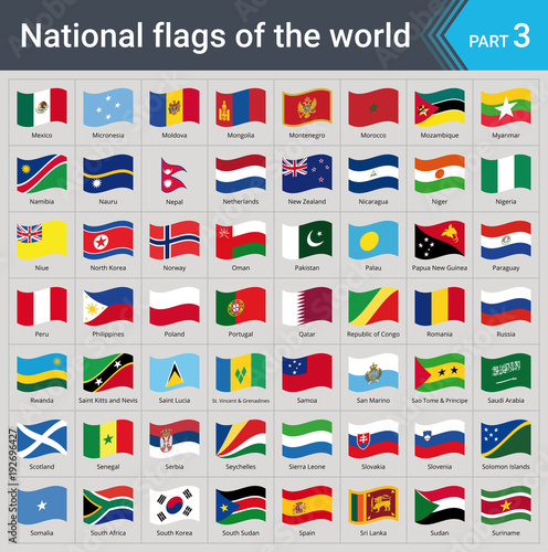 Fototapeta Waving flags of the world part 3. Collection of flags - full set of national flags isolated on gray background. obraz na płótnie