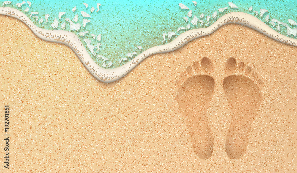 Fototapeta Vector realistic human footprint on sea beach sand