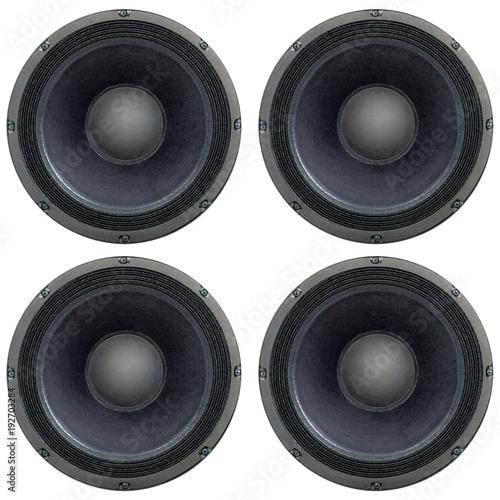 Fotografia  4 quadratisch angeordnete Lautsprecher als texture freigestellt auf weiß