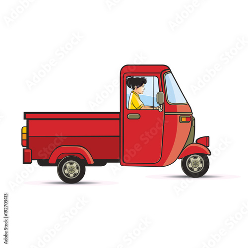 Valokuva girl riding a red delivery three wheeler vector cartoon