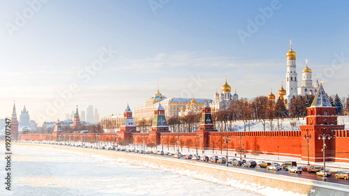 Photo winter panorama of the Moscow Kremlin, Russia