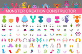 Fototapeta Fototapety na ścianę do pokoju dziecięcego - Monster creation constructor kit. Vector cartoon set of eyes, mouths, arms, noses, tails, horns and bodies to collect the characters of cute aliens and funny creatures.