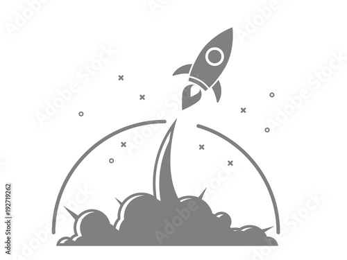 Fototapeta illustration of rocket startup launch vector