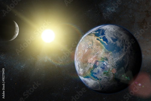 Earth In The Outer Space With Beautiful Sunrise Elements Of This Image Furnished By NASA