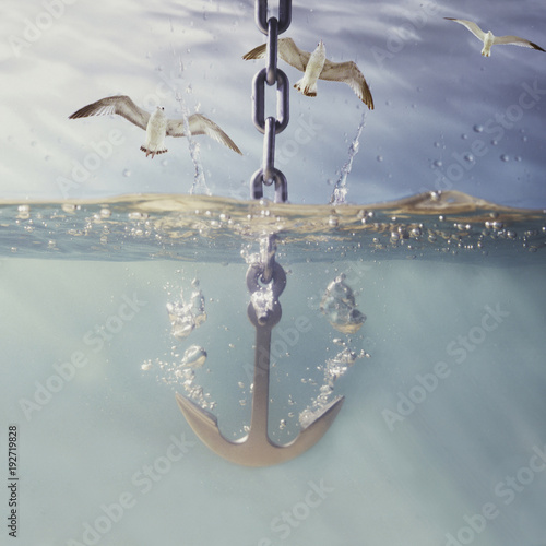 Leinwand Poster anchor dropping into water