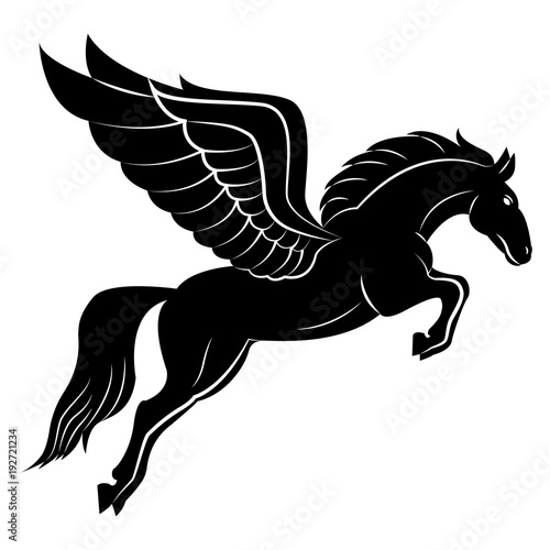 Fotografía Vector image of a silhouette of a mythical creature of pegasus on a white background