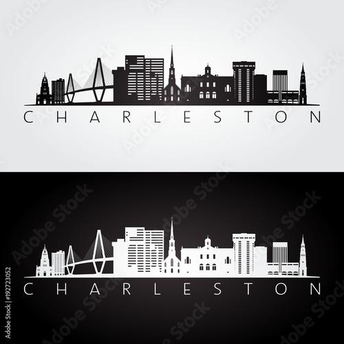 Fototapeta premium Charleston usa panoramę i zabytki sylwetka, czarno-biały design, ilustracji wektorowych.