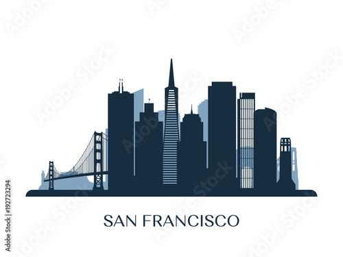 Fotografía  San Francisco skyline, monochrome silhouette