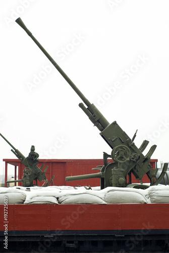 Old antiaircraft guns on railway platforms Canvas Print