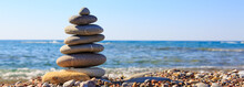 Spa Stones Balance On Beach.