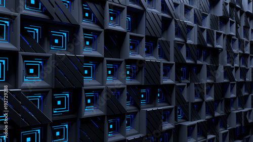 Abstract Blue Background With Squares And Striped Triangles Tiled Modern Dark Glow
