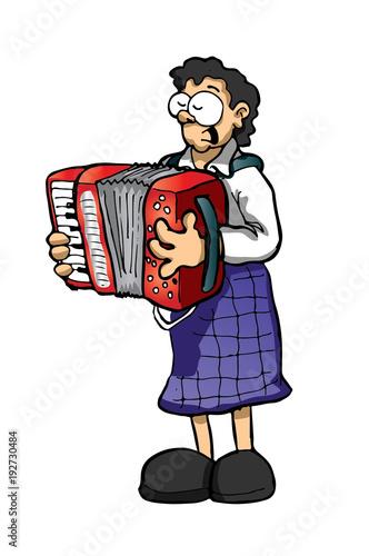 Obraz na plátne  Accordionist. Musician