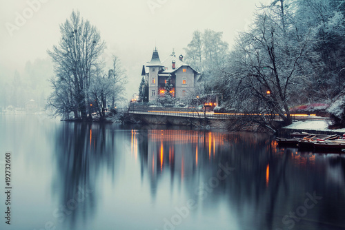 Photo  Vew of Bled lake in the morning, Slovenia