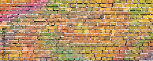 Papiers peints Graffiti painted brick wall, abstract background of different colors