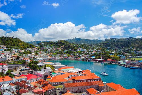 Fototapeta View of Saint George's town, capital of Grenada island, Caribbean region of Less