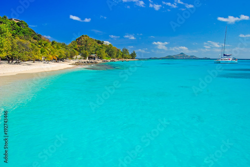 Photo Stands Turquoise Wonderful tropical beach with catamaran boat on sea, Palm island, Caribbean region of Lesser Antilles