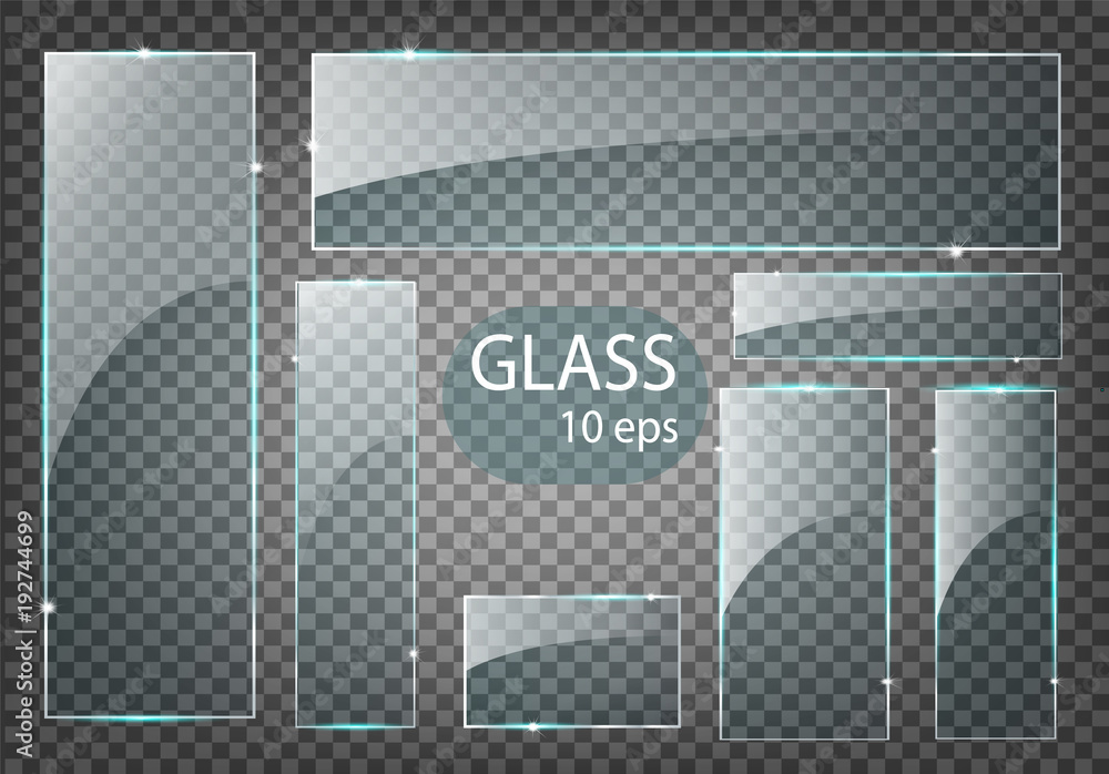 Fototapety, obrazy: Vector modern transparent glass plates set on sample background.