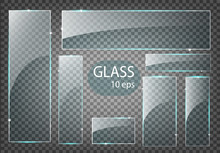 Vector Modern Transparent Glass Plates Set On Sample Background.