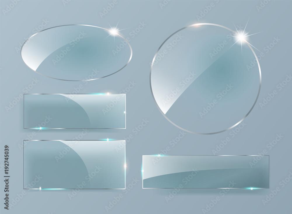 Fototapeta Vector glass banners on transparent background. Glass plates set.