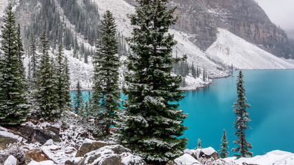 Obraz na Szkle Do jadalni Autumn Snow at Lake Moraine in Banff National Park