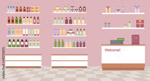 Obraz Health and beauty store  with colorful cosmetic products in plastic bottles in shelves. Flat style vector illustration. - fototapety do salonu