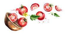Bowl With Ripe Red Tomatoes. Hand Drawn Horizontal Watercolor Illustration, Isolated On White Background