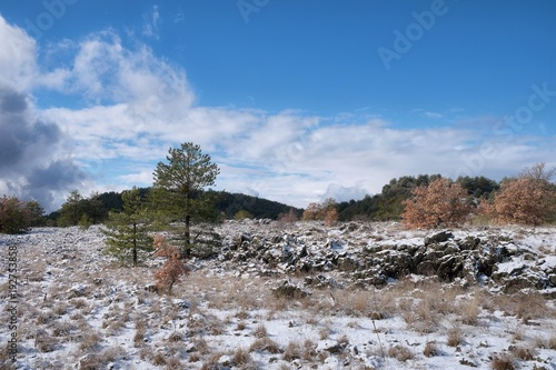 Fényképezés  Winter Landscape In Etna Park, Sicily