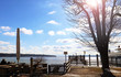 Panoramic winter view of Ammersee, Bavarian lake near Munich, from a beer garden near water