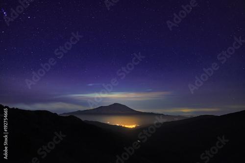 Fényképezés  Night Lights Town And Etna Volcano From Nebrodi Park, Sicily