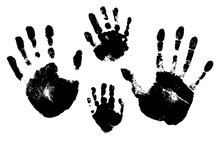 Handprints Of A Man, A Woman, A Child. Vector Silhouette On White Background