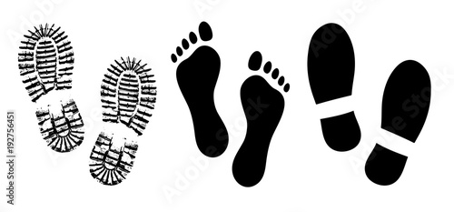 Shoe sole, footprints human shoes silhouette vector, foot barefoot feet Canvas Print