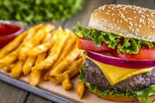 Hamburger On Sesame Seed Bun W...