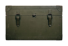 Vintage Old Military Box Green Storage Ammunition Lock Cloth Scratches War Dirty Broken Conflict Homeland Weapons Men