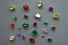 Colorful Glamour Shiny Stones Sparkling Jewelry Glitters Gems Frame Background