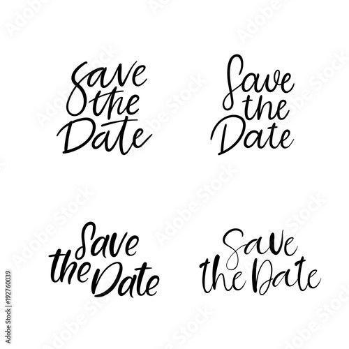 Save the Date hand lettering inscription Modern Calligraphy