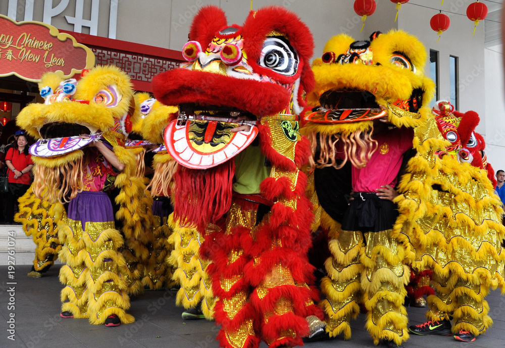 Fototapeta Chinese lion mask or lion head used to performed lion dance during Chinese New Year Festival at Seremban, Malaysia.