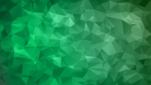 Abstract Low Poly Background Of Triangles In Green, Black Colors. Substrate For Design. 16:9
