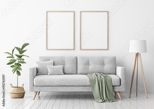 Obraz Living room interior with gray velvet sofa, pillows, green plaid, lamp and fiddle leaf tree in wicker basket on white wall background. 3D rendering. - fototapety do salonu