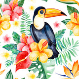 Handpainted watercolor seamless pattern with multicolored flower,tropical leaves,branch,toucan on white background.Tropical background.Perfect for your project,wedding,packaging,wallpaper,cover design - 192763881