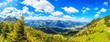 Panoramaaufnahme vom Wanderweg zwischen Jochalpe und Aggenstein im Tannheimer Tal fotografiert tagsüber bei Sonnenschein im Sommer 2014