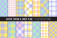 Easter Pastel Color Tartan And...