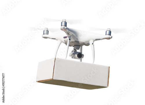 Unmanned Aircraft System (UAS) Quadcopter Drone Carrying Blank Package On White.
