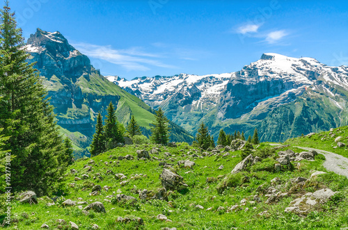 Poster Alpes Swiss Alps. Resort Engelberg. Traveling on foot through the Swiss countryside and mountain tops