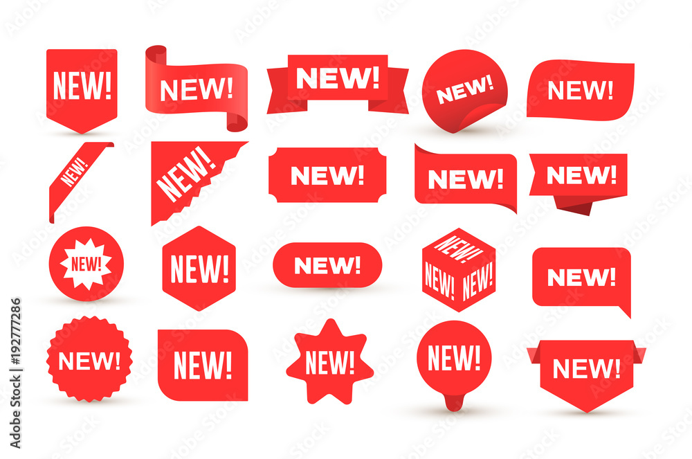 Fototapety, obrazy: Set of new sticker. Badges with word new. Red promotion labels for arrivals shop section. Flat style cartoon. Vector illustration. Isolated on white background